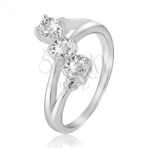Prsten ze stříbra 925, rozdvojená ramena, šikmá linie ze zirkonů