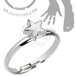 Rhodiovaný nastavitelný stříbrný prsten, lesklá pěticípá hvězda