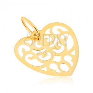 Přívěsek ve žlutém 14K zlatě - pravidelné vyřezávané srdce, ornamenty