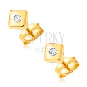 Zlaté blyštivé náušnice 585 - lesklé čtverce s drobným čirým kamínkem uprostřed