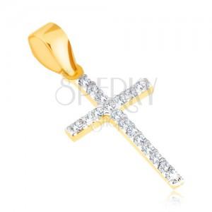 Přívěsek ve žlutém 14K zlatě - tenký třpytivý latinský kříž, čiré zirkony
