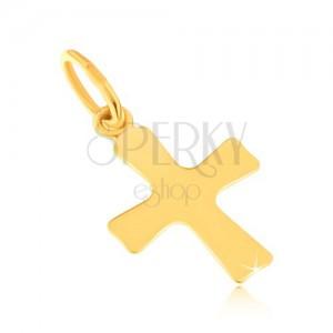 Lesklý přívěsek ze žlutého 14K zlata - plochý malý kříž, mírně se rozšiřující ramena