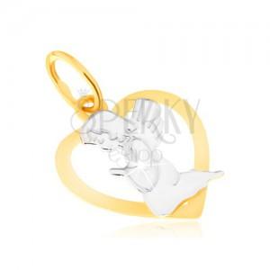 Dvojbarevný přívěsek ze zlata 14K - kontura pravidelného srdce, modlící se anděl