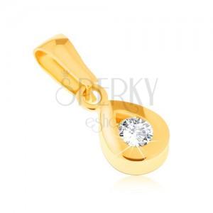Přívěsek ze žlutého 14K zlata - blyštivá kontura slzy, kulatý čirý kamínek