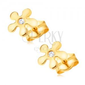 Zlaté náušnice 585, pětilistý blyštivý kvítek s čirým kamínkem