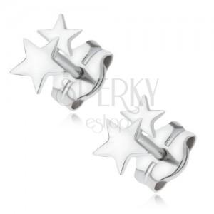 Náušnice z bílého 14K zlata - dvě blyštivé malé hvězdičky