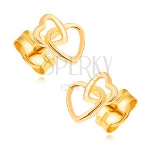 Zlaté náušnice 585 - propojené blyštivé kontury souměrných srdcí