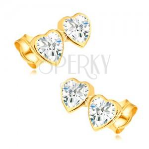 Náušnice ze žlutého 14K zlata - dvě souměrná srdce zdobená zirkony