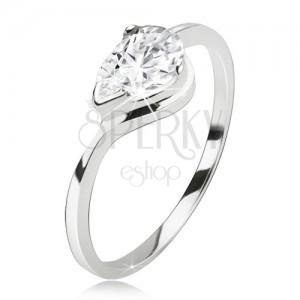 Prsten ze stříbra 925, broušený čirý kamínek - kapka