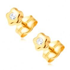 Zlaté náušnice 585 - drobný kvítek s čirým kulatým kamínkem