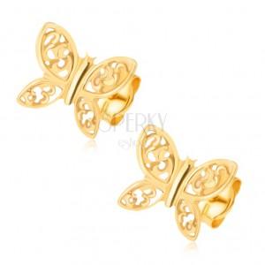Náušnice ze žlutého 14K zlata - blyštiví motýli, filigránské zdobení
