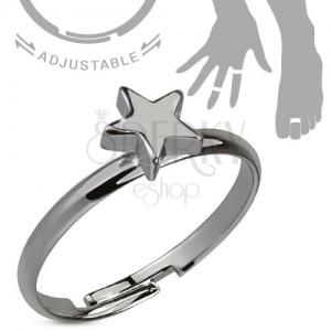Prsten na ruku nebo nohu, ocelově šedý, pěticípá hvězda