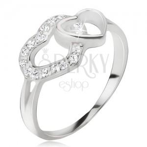 Srdíčkovitý prsten, zirkonová a hladká kontura srdce, stříbro 925