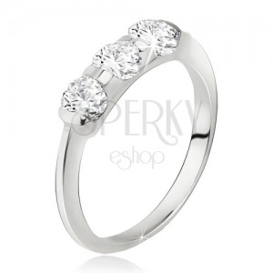 Prsten stříbro 925, širší pás se zasazenými třemi kamínky