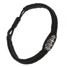 Čierny šnúrkový náramok, pletený, lesklé sivé ozdobné korálky