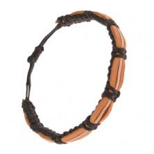 Náramok - čierny šnúrkový remienok, škoricové a béžový pás kože
