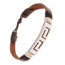 Čokoládovohnedý náramok z kože, oceľová známka s výrezmi, šnúrky