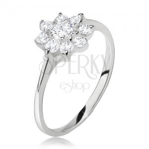 Prsten ze stříbra 925, květ z čirých broušených kamínků