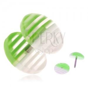 Fake plug z akrylu, průhledná kolečka s bílými a zelenými proužky