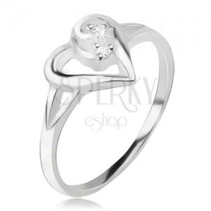 Srdíčkovitý prsten, obrys asymetrického srdce, čiré kamínky, stříbro 925