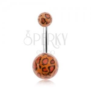Piercing do pupíku, akrylové kuličky s leopardím vzorem