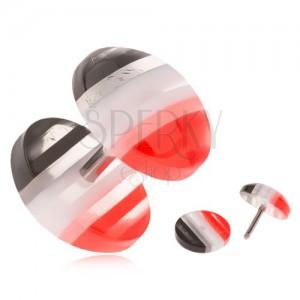 Fake plug z akrylu, vypouklá kolečka, červené, bílé a černé pruhy