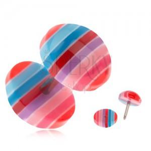 Falešný plug do ucha z akrylu - modré, červené a růžové pruhy