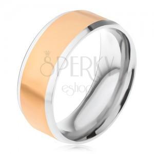 Ocelový prsten, zlatý středový pás, stříbrné šikmé okraje
