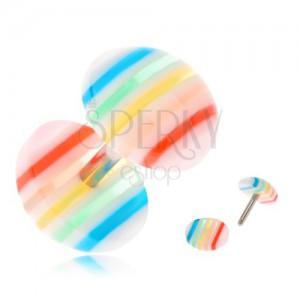 Falešný plug do ucha, vypouklá čirá kolečka s barevnými proužky