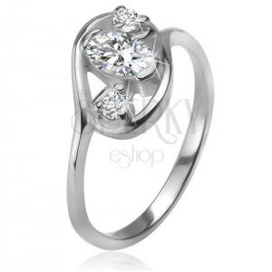 Zirkonový prsten, obrys elipsy, tři čiré broušené kamínky, stříbro 925