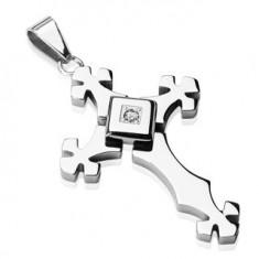 Ocelový přívěsek stříbrné barvy - kříž se zirkonem ve čtverci G10.11