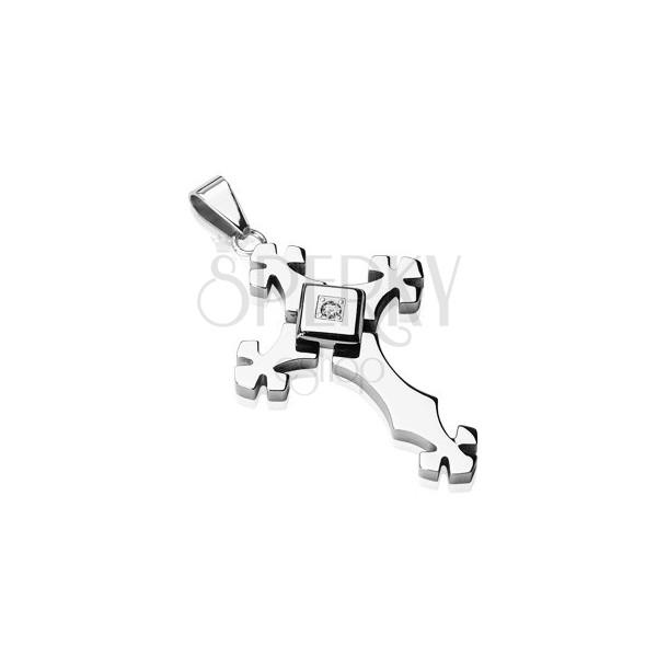 Ocelový přívěsek stříbrné barvy - kříž se zirkonem ve čtverci