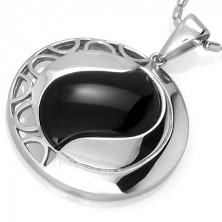 Přívěsek kruh s černým achátem