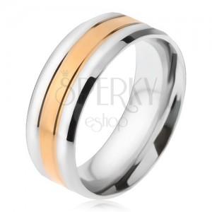 Ocelový prsten, zlatý a dva stříbrné pásy, zešikmené okraje