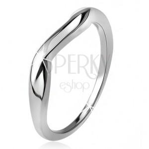Zvlněný prsten, hladká ramena, vlna, stříbro 925