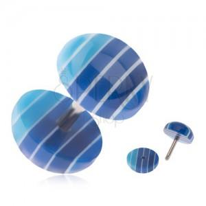 Fake plug do ucha, akrylová kolečka, tmavě a světle modré pruhy