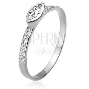 Zirkonový prsten, kamínková ramena, elipsovitý kamínek, stříbro 925