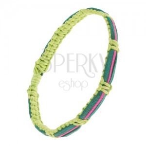 Světle zelený šňůrkový náramek, tmavě zelené a fuchsiový proužek kůže