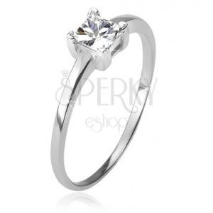 Prsten ze stříbra 925, čtvercový čirý kamínek v kotlíku