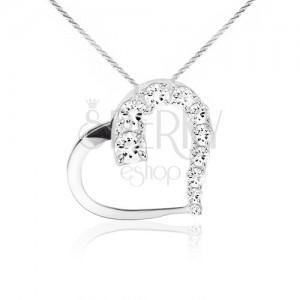Náhrdelník ze stříbra 925, řetízek, kontura srdce, čiré kamínky