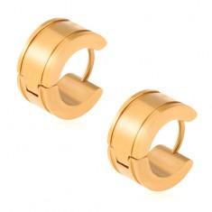 Zlaté náušnice z oceli, lesklé kruhy, žlábky u okrajů S56.30