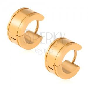 Zlaté náušnice z oceli, lesklé kruhy, žlábky u okrajů