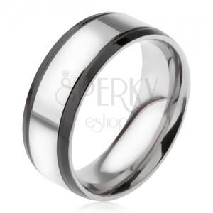 Prsten z oceli 316L, stříbrný s černymi okrajovými pásy