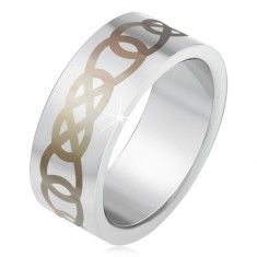 Matný ocelový prsten stříbrné barvy, šedý ornament z obrysů slz BB2.7