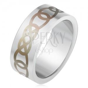 Matný ocelový prsten stříbrné barvy, šedý ornament z obrysů slz