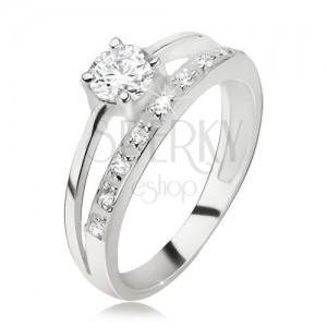 Prsten stříbro 925, zirkonové a hladké rameno, větší okrouhlý zirkon