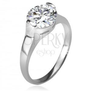 Prsten ze stříbra 925, okrouhlý čirý zirkon v kotlíku