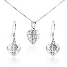 Set ze stříbra 925 - náhrdelník a náušnice, vyřezávaná srdce S49.13