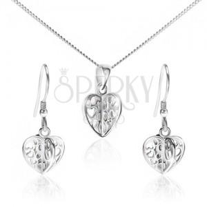 Set ze stříbra 925 - náhrdelník a náušnice, vyřezávaná srdce