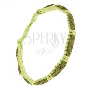 Světle zelený náramek ze šňůrek, tmavě zelený copánek z kůže